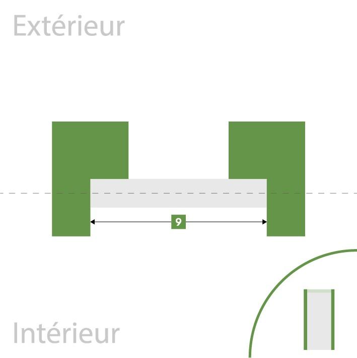 Porte d'entrée sur-mesure - Largeur de fond de feuillure